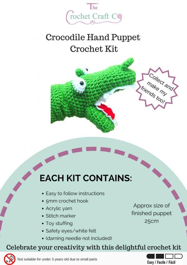Crochet Kit - Crocodile Hand Puppet
