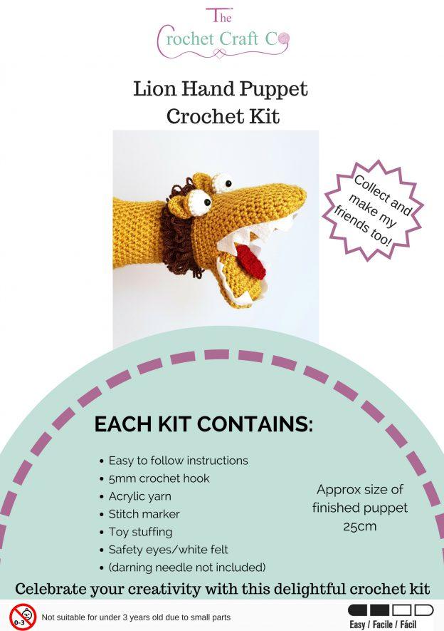 Crochet Kit - Lion Hand Puppet - The Crochet Craft Co.