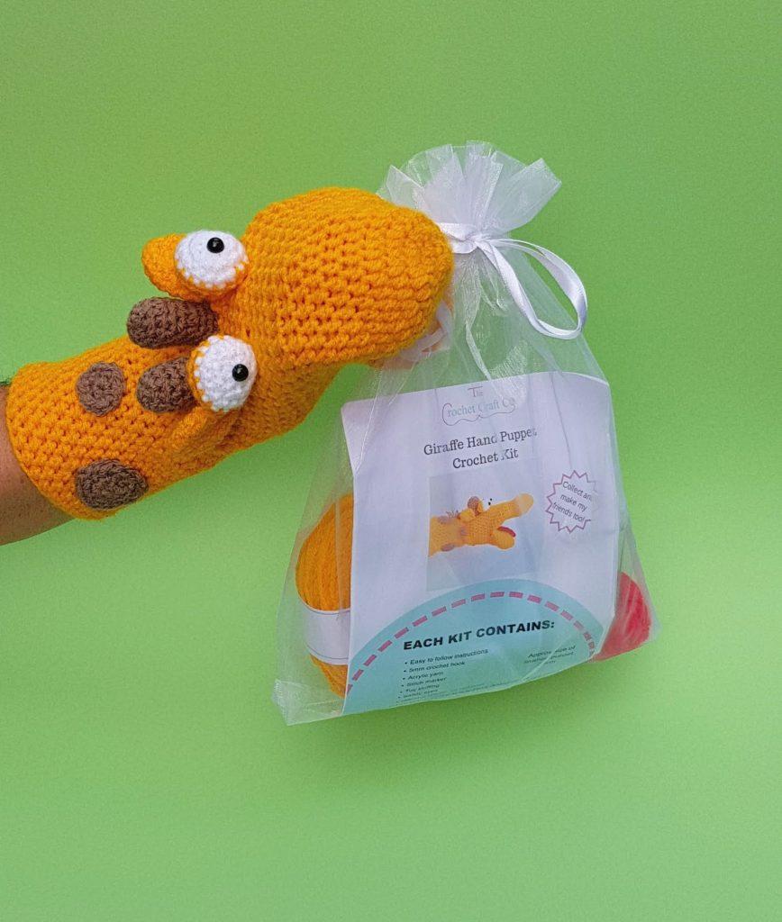 Giraffe crochet kit hand puppet, the crochet craft co