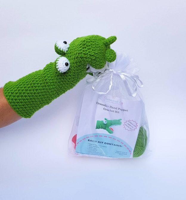 crocodile crochet kit hand puppet, the crochet craft co