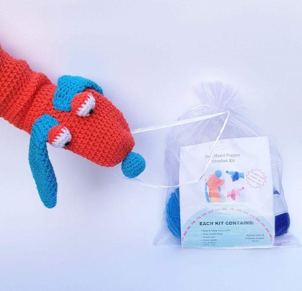 Dog crochet kit hand puppet, the crochet craft co