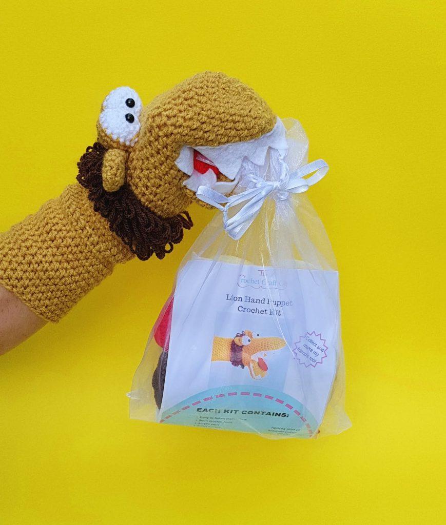 Lion crochet kit hand puppet, the crochet craft co