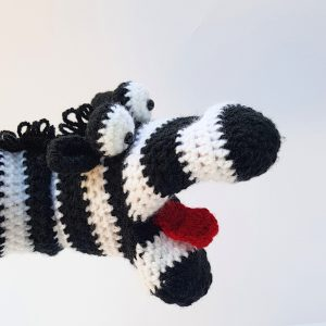 zebra hand puppet - The Crochet Craft co