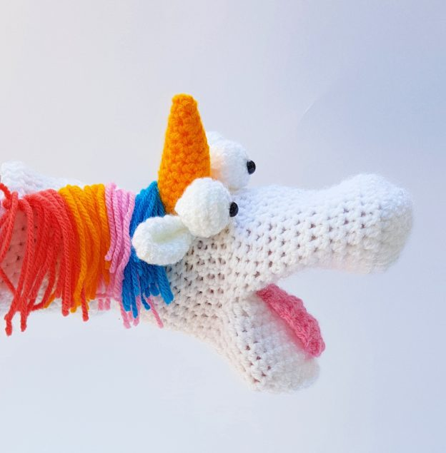 unicorn hand puppet - The Crochet Craft Co