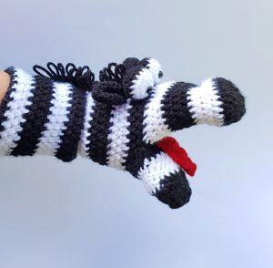 zebra hand puppet, www.thecrochetcraftco.co.uk