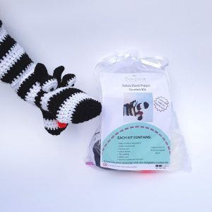 Zebra crochet kit hand puppet, the crochet craft co