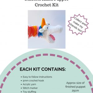 hand puppet kit, crochet hand puppet, unicorn kit, crochet craft co