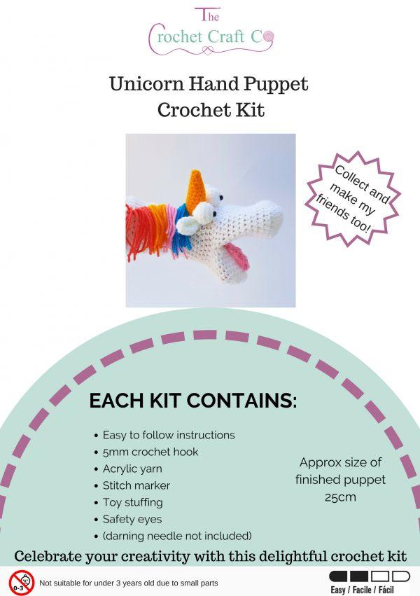 hand puppet kit, crochet hand puppet, unicorn kit, crochet craft co