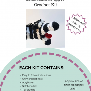 crochet hand puppet kit, crochet zebra kit, crochet craft co