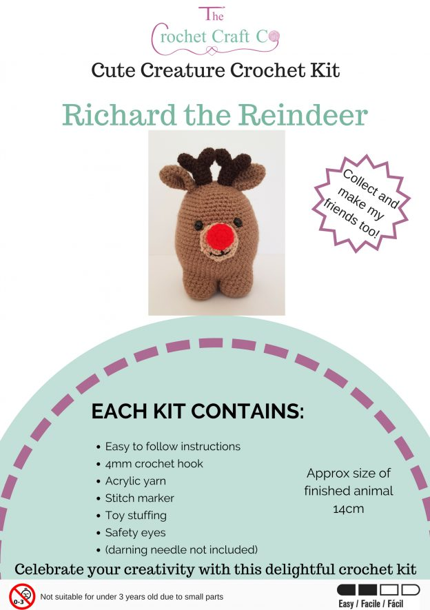 crochet creature kit, crochet reindeer kit, crochet craft co