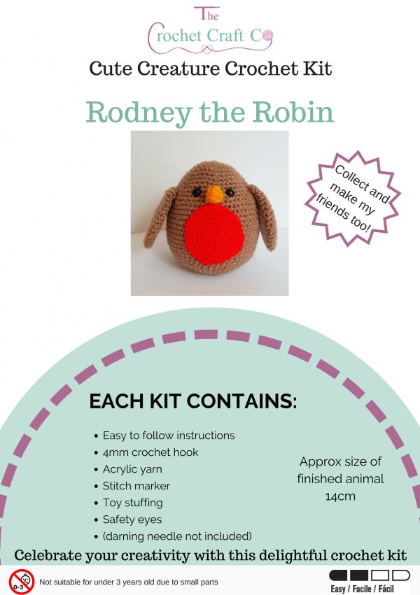 crochet creature kit, crochet robin kit, crochet craft co