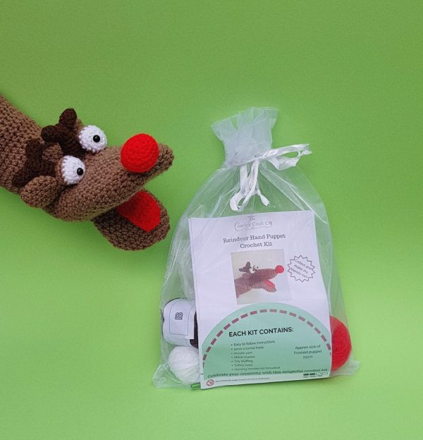 reindeer crochet kit hand puppet, the crochet craft co