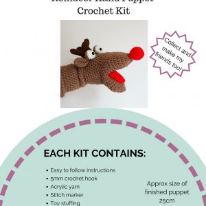 puppet kit, reindeer puppet kit, crochet craft co