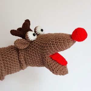crochet hand puppet, reindeer hand puppet, crochet craft co