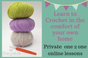 online crochet lessons, private one 2 one lessons, the crochet craft co