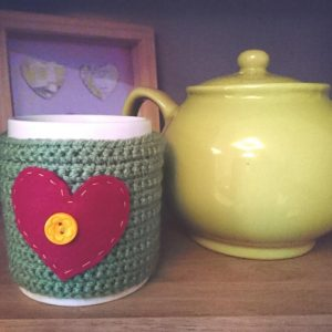 crochet mug cosy, the crochet craft co