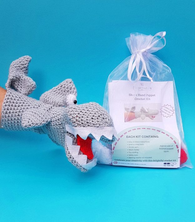 shark crochet hand puppet kit, the crochet craft co
